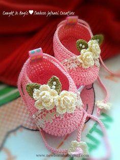 Crochet Baby Booties Baby ballerinas .. size 3~6 months ♥♥...