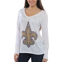 Women's New Orleans Saints White Sublime Burnout V-Neck Long Sleeve T-Shirt