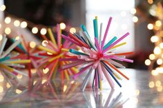 DIY drinking straw star burst ornaments