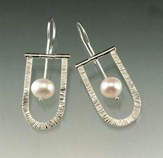 Fresh Water White Pearl Sterling Silver Hinged Dangle Earrings, Natural Fine Fresh Water Pearl, Wedding Pearl Earrings  #SilverJewelry