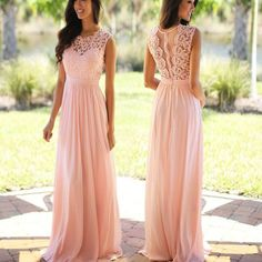 Elegant Sheath pink A-line Lace Gorgeous Wedding Party Dresses, Popular Bridal Gown The long bridesmaid dresses are fully lined, 4 bones in the bodice, chest pad in the bust, lace up back or zipper ba