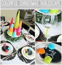 Colorful Christmas Tablescape