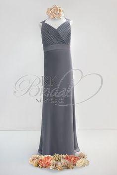 Bari Jay Junior Bridesmaids - Style 20411  Chiffon V-neck with charmeuse straps, shirred bodice, open back