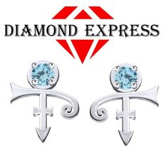 1/3 Ct Aquamarine Round Cut PRINCE Singer Artist Symbol Stud Earrings. Starting at $1