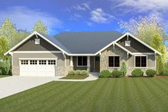Craftsman House Plan with Optional Lower Level - Craftsman Style House Plans, Ranch House Plans, New House Plans, Dream House Plans, Small House Plans, House Floor Plans, Craftsman Ranch, Craftsman Exterior, Exterior Homes