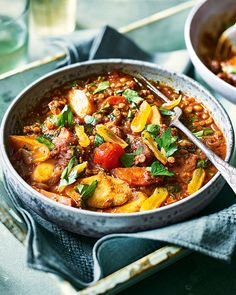 As this hearty tagine simmers away slowly, the root vegetables gradually release their natural sweetness and become beautifully soft. This recipe also happens to be vegan.