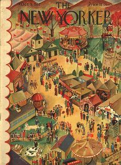 The NEW YORKER Magazine very rare original cover - October 1937 - Ilonka Karasz - Overhead view of country circus The New Yorker, New Yorker Covers, Magazine Art, Magazine Covers, Vogue, Vintage Magazines, Vintage Photos, Vintage Art, American Artists