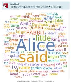 """WordCloud[DeleteStopwords[ExampleData[{""""Text"""", """"AliceInWonderland""""}]]]"""