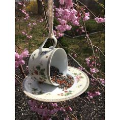 teacup and saucer bird feeder ($12) ❤ liked on Polyvore featuring home, outdoors, outdoor decor, bscozycottagecrafts, vintage hangers, bird garden decor, vintage garden decor and garden hangers