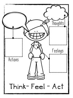 Think Feel Act Worksheets Freebie! I use this diagram frequently in counseling with other CBT Tools to help explain the relationship between Thinking, Feeling, and Acting. I have students complete the worksheets following a problem or a success they experience.