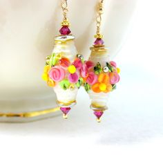 Floral Earrings, Hot Pink Orange Ivory Gold Earrings, Mother's Day Jewelry, Lampwork Glass Earrings, Flower Earrings, Pretty Dangle Earrings by GlassRiverJewelry on Etsy https://www.etsy.com/listing/226871410/floral-earrings-hot-pink-orange-ivory