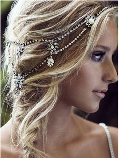 Switch up your style for the reception by adding a jeweled bridal headpiece! #WeddingsbyFunjet