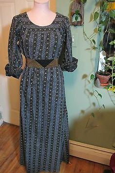 vintage 70s prairie MAXI long sleeve DRESS cotton M hippie BOHO black FLORAL