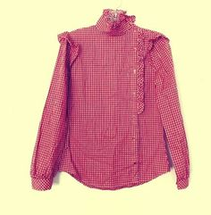 Vintage Retro Red and White Gingham Checkered Cotton Button up Blouse High Collar Pioneer Top Size Small Annie Oakley Shirt Country Western