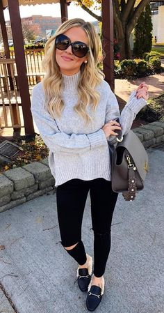#winter #outfits gray turtle-neck sweater with distressed black pants and black loafers
