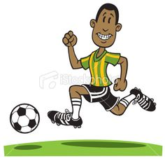 Cartoon African American Playing Soccer Royalty Free Stock Vector Art Illustration