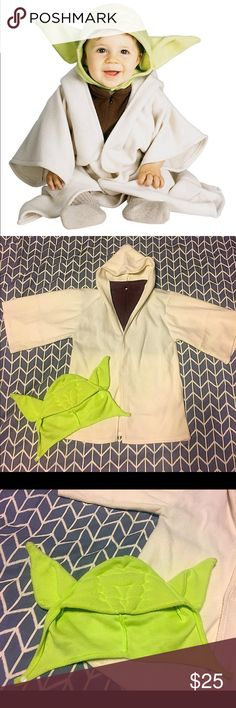 Star Wars Yoda Toddler Costume - Star Wars Costume Includes the textured Yoda headpiece and hooded robe. Hooded robe has brown mock turtleneck with long wide sleeves and three self-stick adhesive closures.  💌Thank You for your Interest!!😘 ❌NO Trades❌ 💲Fair Offers Accepted💲Want MORE For LESS?✨Use the BUNDLE DISCOUNT: 4️⃣Items=20%OFF!!✨Can't find 4️⃣you like? Ask me to make you a custom BUNDLE. Costumes Halloween