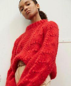 Ganni The Julliard Mohair Pullover Fiery Red Gilet Mohair, Mohair Sweater, Old Sweater, Winter Sweaters, Knitwear Fashion, Knit Fashion, Fashion Women, Style Fashion, Fashion Design