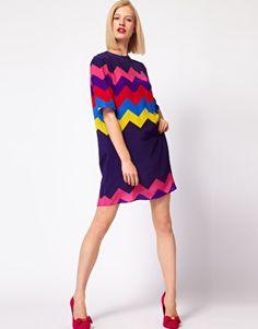 House of Holland Oversized Tee Dress in Silk Zig Zag  SGD$417.53