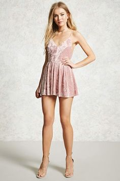Crafted in a soft crushed velvet, this romper sports a strappy crisscross back with adjustable cami straps, V-neckline, and a fit & flare silhouette. Tight Dresses, Casual Dresses, Short Dresses, Trendy Outfits, Cute Outfits, Weird Fashion, Long Sleeve Romper, Rompers Women, Pretty Dresses
