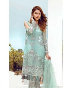 Order Pakistani Designer Chiffon Dresses Indian Pakistani Chiffon Suits online shopping in usa. Fully stitched Collections with free worldwide shipping. Pakistani Bridal Wear, Pakistani Outfits, Indian Outfits, Light Turquoise, Turquoise Color, Light Blue, Glamorous Dresses, Beautiful Dresses, Online Shopping