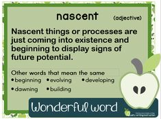 """Words and their origins are so fascinating! Spending time with our developing writers exploring the etymology, or history of words, develops not only their writing, but also their spelling and reading. So it is time well spent!  This weeks' wonderful word is 'nascent' which comes from the Latin verb nasci, meaning """"to be born."""" Other words that derive from nasci which you will be familiar with are 'nature', 'native', 'nation' as well as 'innate' and 'natal'.   Follow us for more! Origins, Spelling, Writers, Exploring, Meant To Be, Teaching, History, Words, Xmas"""