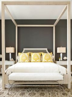colors, dark charcoal walls and headboard fabric, cream furniture and fabrics, pillows whatever color of the day to pop