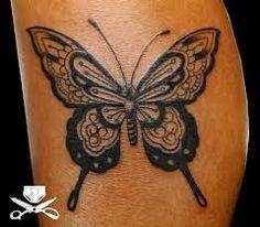 black mendhi butterfly tattoos