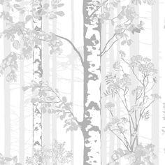 Luontopolku White wallpaper by Vallila