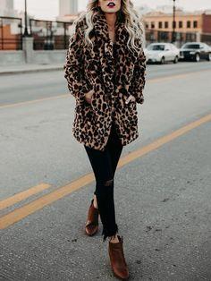 Leopard Print Casual Faux Fur Coat | victoriaswing