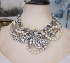 Vintage Assemblage Jewelry - Statement Rhinestone and Pearl Bib Necklace - One of a Kind Jewelry from JryenDesigns