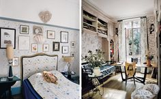 The Wild World of Vincent Darré - The New York Times  From left: Darré's bedroom, with wallpaper and textiles by Pierre Le-Tan for Maison Darré, 1950s planetarium lamps and a 17th-century pillow with an image of the Madonna; in the study, a bookshelf of 18th-century carved wood designed by Darré, a pair of 1950s Paolo Buffa chairs, and curtains, wallpaper and an upholstered chair in a Darré print for Pierre Frey. Credit François Halard