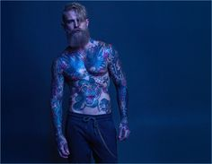 Showing off his tattoos, Josh Mario John connects with Macson for fall-winter 2017.