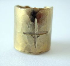 Gold Ear Cuff, Crosses, Red Brass, Etched, Religious, Unisex. $9.00, via Etsy.