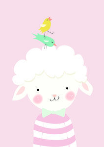 Poster babykamer Klein lammetje roze 21x29.7 cm