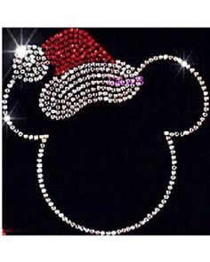 Mickey Mouse with SANTA HAT - Christmas Mickey iron on hotfix rhinestone transfers - hot fix design- SUPER Deal only 6.50------ on Etsy, $6.50