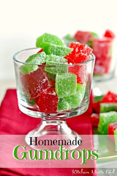Homemade Gumdrops--These fun little holiday candies take less than 10 minutes to mix up, though do require some chilling time before cutting.  You could definitely jazz them up even more by using small cookie cutters to cut them out into fun holiday shapes.