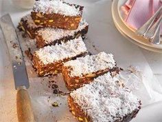 Chocolate berry slice: If you're making this yummy slice for a kids' party, replace the coconut topping with a generous sprinkling of colourful hundreds and thousands.