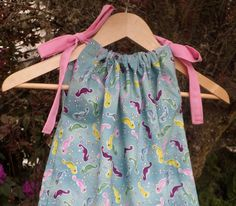 Girls Seahorses on Teal Blue  Pillowcase Dress Custom Made For Babies and Girls