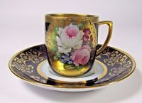 Royal Vienna Cup: w/ Saucer Antique Hand Painted Floral Raised Gold Porcelain