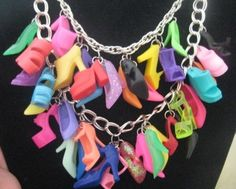 Barbie shoes charms necklace