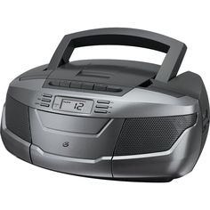 GPX AM FM CD Cassette Recorder Silver Boom Box and Speakers