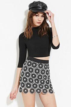 Open Floral Crochet Mini Skirt | Forever 21 - 2000150315