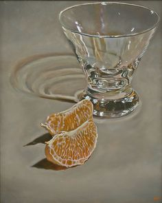 """Orange Slices and Glass"", 2007  Oil on canvas, 30 x 24 inches   by Jeffrey Hayes"