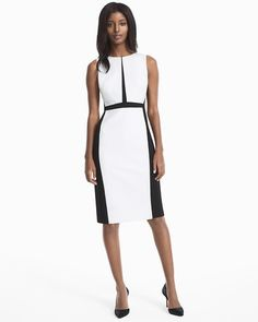 """Our latest shape-making sheath dress is a ladylike piece with black and white colorblocking. We like it on its own or layered under a black blazer for a structured statement.  Sleeveless black with white colorblock sheath dress Exposed back black zipper Fully lined Regular: Approx. 40"""" from shoulder; 7"""" center back vent Petite: Approx. 38 1/8"""" from shoulder Polyester/rayon/spandex. Dry clean only. Imported"""