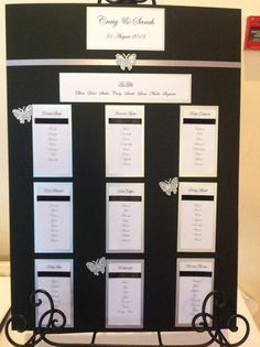 Black white & silver butterfly table plan Butterfly Table, Table Plans, Wedding Invitations, Stationery, Wedding Ideas, Black And White, How To Plan, Prints, Silver
