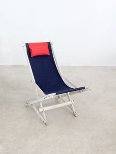 vintage deck chair / nautical beach chair by 86home on Etsy, $275.00