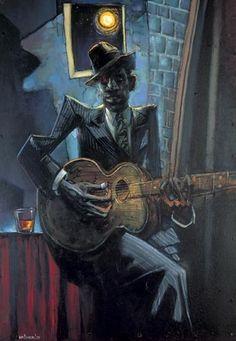 Very Cool Love the blue tones in htis art- Robert Johnson by Sebastian Kruger Sebastian Kruger, Robert Johnson, Jazz Art, Music Pics, Music Artwork, We Will Rock You, Blues Artists, Guitar Art, Blues Music