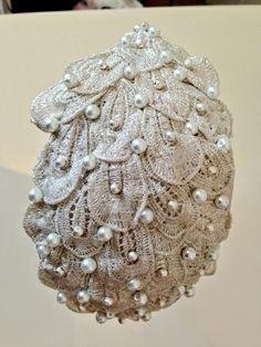 Bridal hand beaded teardrop shape by SARAH STEPHENS #millinery #HatAcademy #hats