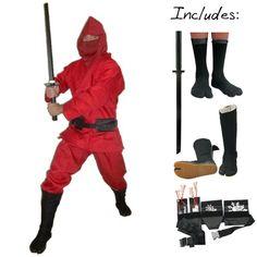 Supreme Red Modern Ninja Costume (5pc)